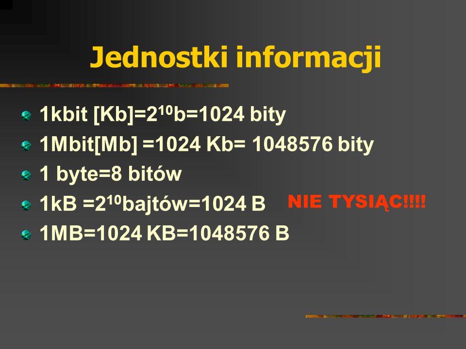 Jednostki informacji 1kbit [Kb]=210b=1024 bity